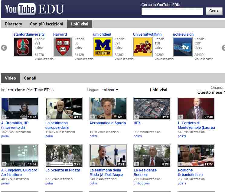 Il canale Educational di YouTube