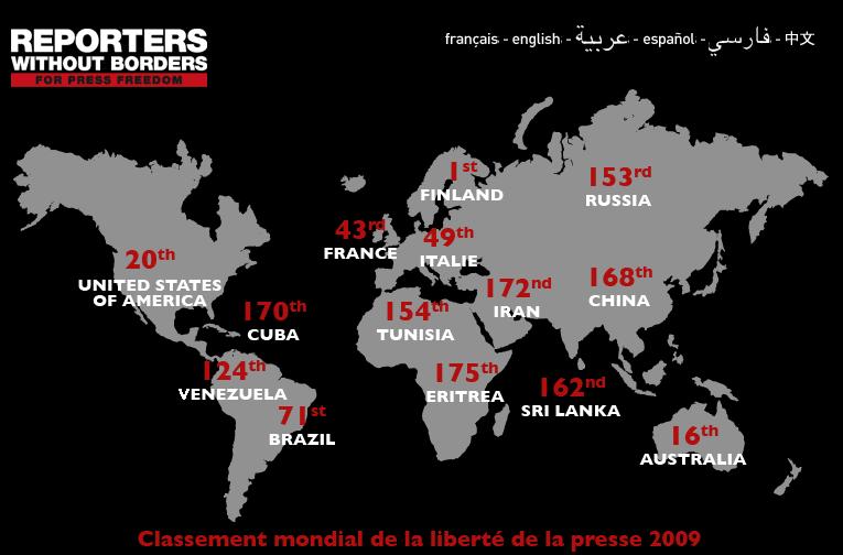 Reporters-sans-Frontieres Rapporto sulla libertà di stampa 2009