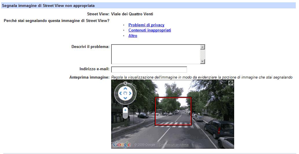 Il modulo per segnalare eventuali violazioni della privacy su Street View (clicca sull'immagine per ingrandirla)