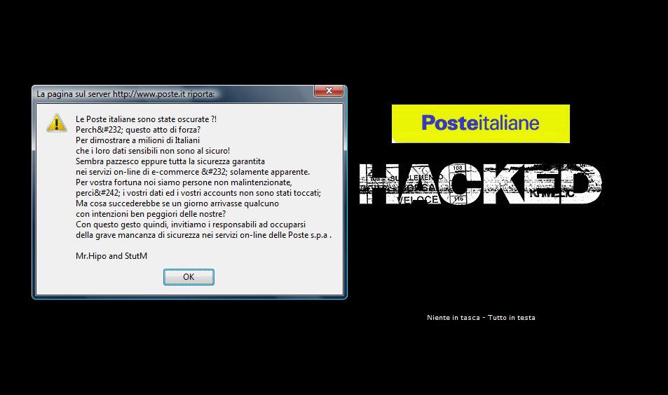 Il messaggio degli hacker sul sito di Poste Italiane, il 10 giugno 2009
