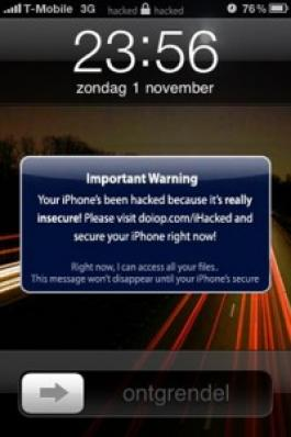 Il messaggio spedito dal cracker agli utenti con iPhone jailbrekkato