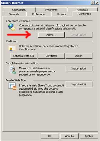 Dal menu Strumenti di Internet Explorer si accede al Controllo Genitori