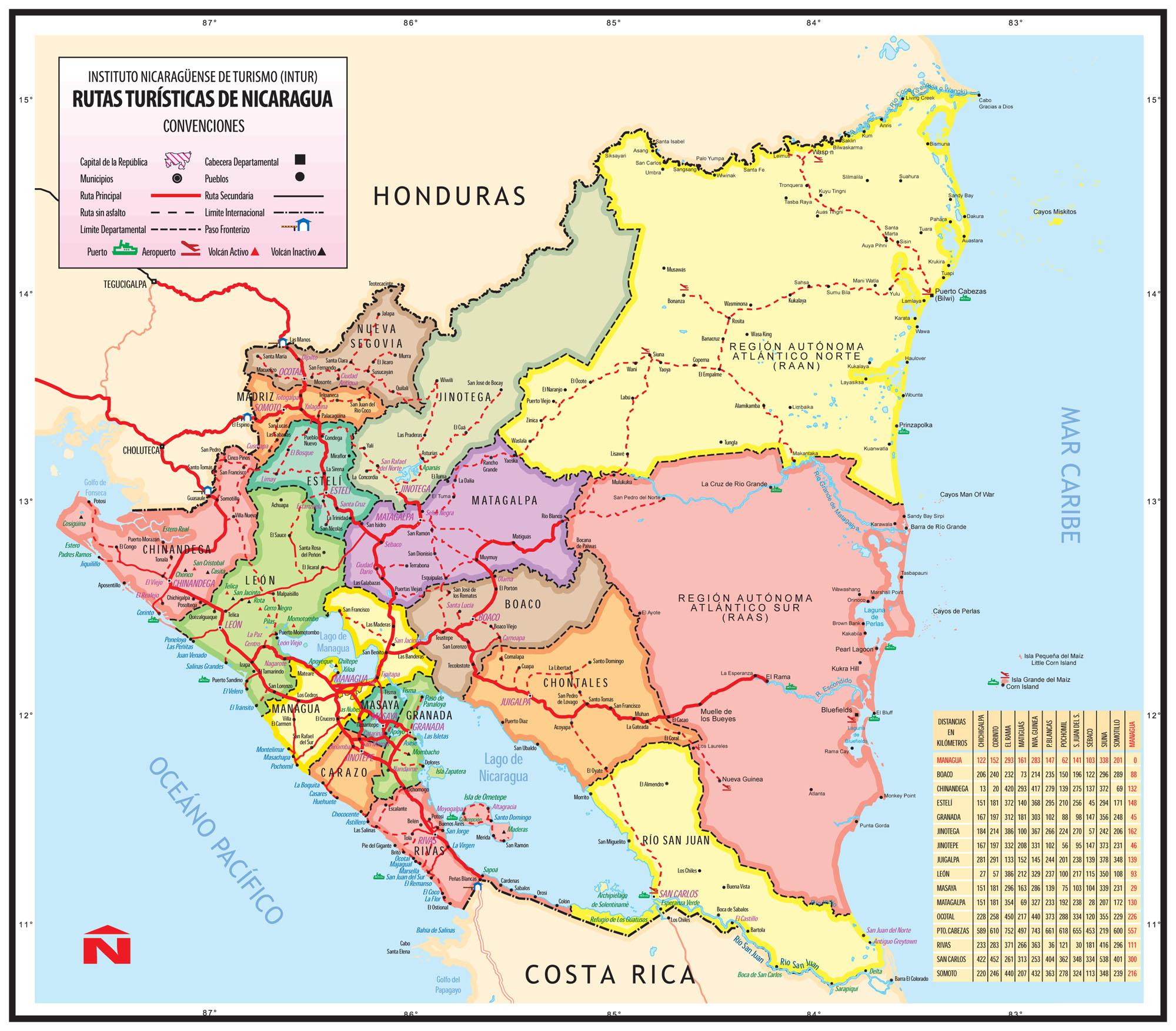 Cartina Geografica Nicaragua
